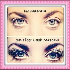 Younique 3d fiber mascara vs no mascara! What a difference!! Get yours today ladies
