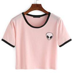 Moda Verão Projeto kawaii Aliens Impressão Camisetas Mulheres de Manga Curta Tops Tees Femininos Confortáveis Rosa Camisetas Ucrânia em Camisetas de Das mulheres Roupas & Acessórios no AliExpress.com | Alibaba Group
