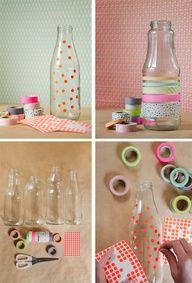 Spotty / washi tape glass jars - cute for center pieces Diy Bottle, Bottle Crafts, Washi Tape Crafts, Paper Crafts, Diy Mit Washi Tape, Diy Crafts For Kids, Easy Crafts, Ideias Diy, Masking Tape
