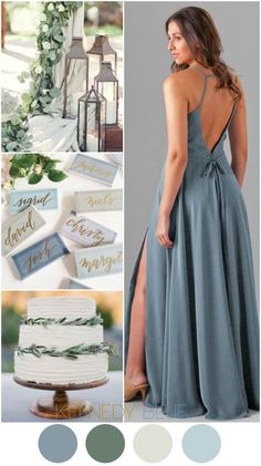 A Slate Blue wedding color palette with pops of earthy greens and light blues | Kennedy Blue Bridesmaid Dress Elizabeth in Slate Blue