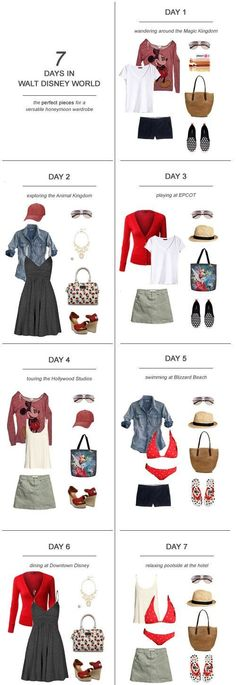 7 Days in Walt Disney World : The Perfect Pieces for a Versatile Honeymoon Wardrobe The hardest part about planning the honeymoon can be figuring out what you're going to pack! Here's my tips on packing for 7 days in Walt Disney World: Disney World Outfits, Walt Disney World, Disney Worlds, Disney Vacation Outfits, Disney World Packing, Disneyland Outfits, Disney Parks, Spring Dresses, Spring Outfits