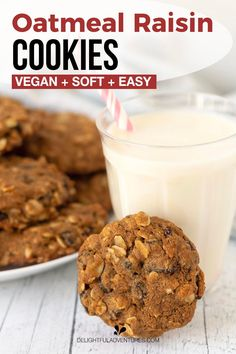 Quick and easy vegan oatmeal raisin cookies made with oat flour! These cookies turn out soft, chewy, and irresistible, plus, since they're vegan, they're eggless, dairy-free…gluten-free, too! They're simple to make and you can have them ready to enjoy in under 30-minutes. Vegan Oatmeal Raisin Cookies, Easy Vegan Cookies, Vegan Gluten Free Cookies, Vegan Treats, Vegan Food, Gluten Free Recipes For Breakfast, Vegan Dessert Recipes, Vegan Recipes Easy, Snack Recipes