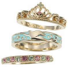Little Mermaid Ariel 3 Piece Ring Set from Disney. #mermaid #jewelry
