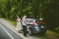 Sarah and Tim's 23 guest woodland wedding. Photos by Carolyn Scott. Read more here @intimateweddings.com smallwedding #getawaycar
