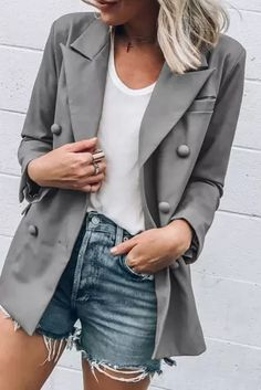 Women Slim Casual Business Suit Fashion Ladies Work Jacket Long Sleeve Coat Outwear Tops - #coatsforwomen #coatsforwomenwinter #coatsforwomencasual #coatsforwomenclassy #coatsforwomenclassyelegant #coatsjackets #coatsjacketswomen #coatsforwomen2020 #coatsforwomen2020fashiontrends #streettide Blazers For Women, Suits For Women, Jackets For Women, Clothes For Women, Work Jackets, Work Tops, Suit Fashion, Womens Fashion, Jacket Buttons