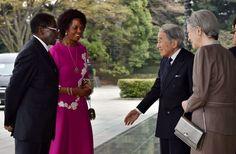 Emperor Akihito Photos - Japanese Emperor Akihito (2nd R) and Empress Michiko (R) greet Zimbabwean President Robert Mugabe (L) and his spouse Grace Mugabe (2nd L) upon their arrival at the Imperial palace in Tokyo on March 28, 2016. .Mugabe is on a five -day visit to Japan. / AFP / KAZUHIRO NOGI - Zimbabwe's President Mugabe on Official Visit to Japan