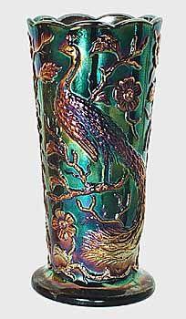 Peacock Garden Carnival Glass Vase, Fenton