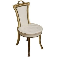 A Vintage Hickory Chair Upholstered In An Ivory Leather