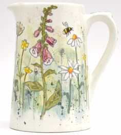 Hand drawn wild Foxgloves with Buttercups, Daisys & a Bumble Bee Pottery Painting, Ceramic Painting, Ceramic Art, Molly Hatch, Milk Jug, Paint Finishes, Clay Projects, Earthenware, Ceramic Pottery