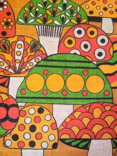Vintage Mushroom Nineteen Seventy Two Calendar Linen Towel Polka Dots Stripes Orange Green Gold Retro Fabric, Vintage Fabrics, Vintage Prints, Motif Vintage, Vintage Patterns, Vintage Green, Psychedelic Pattern, Psychedelic Art, Mushroom Art