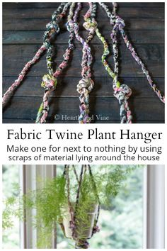 Make this easy fabric twine plant hanger by upcycling leftover material scraps in your sewing drawer. Fabric Yarn, Fabric Decor, Fabric Scraps, Scrap Fabric, Scraps Quilt, Patchwork Fabric, Viscose Fabric, Fabric Sofa, Linen Fabric