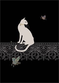 White Cat & Butterflies by Jane Crowther. Bug Art greeting cards