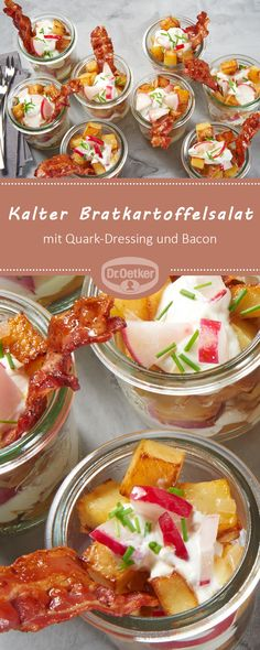 Kalter Bratkartoffelsalat: Gebratene Kartoffelwürfel mit Quark-Dressing und Bac… Cold fried potato salad: Fried potato cubes with cottage cheese dressing and bacon Baking Recipes, Dessert Recipes, Lard, Snacks Für Party, Great Appetizers, Easter Recipes, Yummy Snacks, Healthy Drinks, Finger Foods