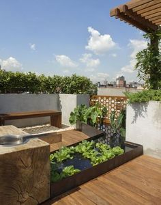 13 Awesome Images Of Rooftop Garden Design: Contemporary Roof Top Garden Design With Small Water Features Rooftop Garden Design Garden Oasis, Terrace Garden, Water Garden, Home And Garden, Terrace Ideas, Water Plants, Modern Landscape Design, Modern Garden Design, Modern Landscaping