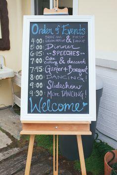 Timeline chalkboard {msmelange.com} http://msmelange.com/2014/03/26/emily-kirbys-wedding/