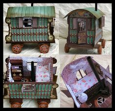 3d Romany Gypsy Caravan A4 Print n Cut only with interior and gift box…