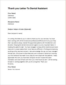 Thank You Letter To Dental Assistant DOWNLOAD At Http://writeletter2.com/
