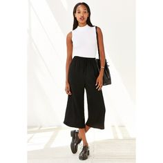 Silence + Noise Chloe Pant ($40) ❤ liked on Polyvore featuring pants, black, wide pants, silence + noise, black cropped trousers, pull on pants and black crop pants