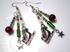 Christmas Earrings - Dangly Beaded Silver Santa Sleigh Earrings with Red, White and Green - Jewellery for the Holidays #christmasearrings