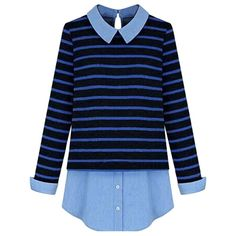 Womens Striped Turndown Collar Patchwork Long Sleeve Blouse Blue ($29) ❤ liked on Polyvore featuring tops, blouses, shirts, sweaters, blue, shirts & blouses, long sleeve tops, long sleeve blouse, long sleeve shirts and blue blouse