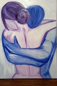"""""""Amor além das palavras"""" Pintura Acrílica Abstrata De Um Casal abraçando"""