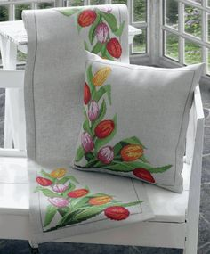 Anchor Maia Tulips Runner Counted Cross Stitch Kit, 14 by Stitched on Linen Cloth ** Check out the image by visiting the link. Ribbon Embroidery, Cross Stitch Embroidery, Embroidery Designs, Fabric Paint Designs, Sewing Pillows, Counted Cross Stitch Kits, Cross Stitch Flowers, Fabric Painting, Cushion Covers