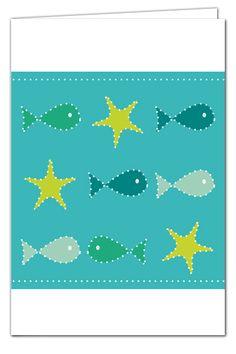 Klappkarte Meeresgrüße zum Prickeln - mit Umschlag in Grün
