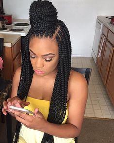Half Up Half Down Box Braids Bun Hairstyles - Black Girl Hair Styles Big Box Braids, Medium Box Braids, Box Braids Styling, Jumbo Braids, Medium Hair, Braided Bun Hairstyles, African Hairstyles, Black Women Hairstyles, Bun Updo