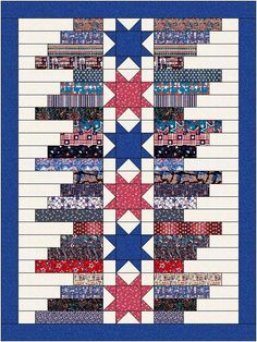 jellyroll quilts Quilt Jubilee by Lisa Sutherland - Patriotic Quilts Flag Quilt, Patriotic Quilts, Star Quilt Blocks, Star Quilts, Jellyroll Quilts, Scrappy Quilts, Easy Quilts, Jelly Roll Quilt Patterns, Star Quilt Patterns