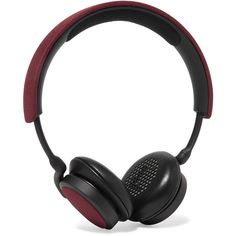 B&O Play H2 leather headphones ($190) ❤ liked on Polyvore featuring accessories, tech accessories, burgundy and cell phone headphones
