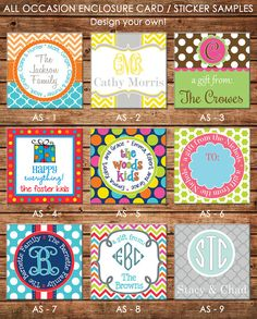 This listing is for 24 personalized, professionally designed gift tags / enclosure cards / gift stickers in ONE DESIGN of your choice. The tags are 2.5 x 2.5 and are laser printed on your choice of smooth, high quality 100lb. card stock OR matte sticker paper that is scored on the back