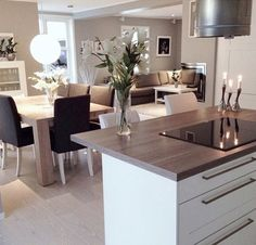 home and luxury image Living Room Kitchen, Home Decor Kitchen, Kitchen Interior, Interior Design Living Room, Home Kitchens, Living Room Designs, Open Plan Kitchen, Home And Living, Sweet Home
