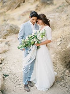 just married | natural wedding ideas | custom gown | leafy green bouquet | #weddingchicks
