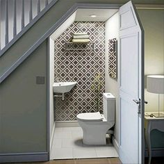 Captivating toilet under the stairs Design the best ideas about the bathroom . - Captivating Toilet Under the Stairs Design the best ideas about the bathroom under the stairs on Pi - Bathroom Under Stairs, Toilet Under Stairs, Living Room Under Stairs, Kitchen Under Stairs, Staircase Storage, Hallway Storage, Basement Storage, Storage Under Stairs, Storage Shelves