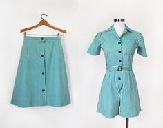 1940s Romper and MATCHING SKIRT Two Piece Set / Striped Playsuit /  XS S