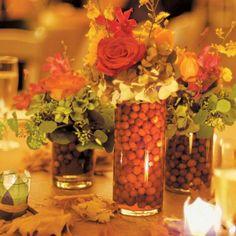 Autumn centerpieces with cranberries (Design by Lee Forrest Design, photo by: Annie Vanacore Photo)