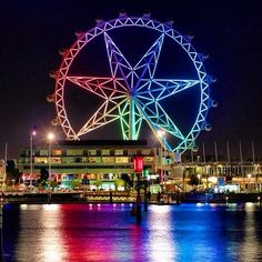 The Melbourne Star on the Yarra River, Australia- reflections of light on water