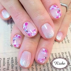 Nail image nailsalon Riche Myogadani 1598519 Pink Purple Silver gradation Peacock spring and summer soft gel hand Short