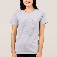 HEADPHONES DRAWING T-SHIRT - drawing sketch design graphic draw personalize