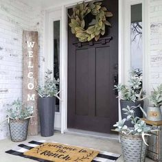 What a gorgeous front porch styled by - we are loving our Magnolia Wreath against her black door! What a gorgeous front porch styled by - we are loving our Magnolia Wreath against her black door! Br House, House With Porch, Farm House Porch, Outside House Decor, Home Porch, Farmhouse Front Porches, Rustic Farmhouse, Farmhouse Style, Farmhouse Outdoor Decor