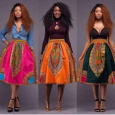 Women African Dashiki Hippie High Waist Skater Flared Pleated Long Skirt Dress