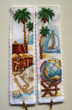Vervaco cross stitch bookmarks-Treasure Island & Desert Island.