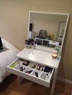 Beauty videos room ideas salon · micke desk diy vanity desk hack desk hack makeup storage the most awesome i Bedroom Makeup Vanity, Ikea Makeup Vanity, Diy Vanity Mirror, Vanity Room, Vanity Ideas, Makeup Vanities, Diy Makeup, Small Bedroom Vanity, Makeup Desk