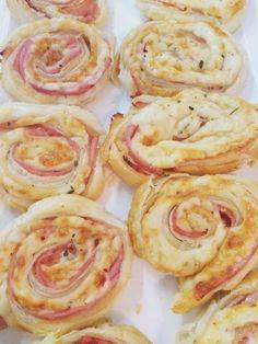 Recetas. Rollitos de hojaldre de queso y jamón cocido