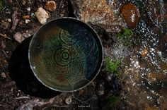 Elena Ray Photography ||| Natural Elements Still Life Photographs in nature. Beautiful organic river water ripples vibration colorful metal chinese bowl brass ecology circles concentric mindful mind body soul natural fine art photographer
