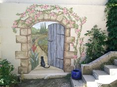 Secret garden mural : The painting of a mural of a door leading to a secret garden. Check out how it was designed and a time lapse video of its creation. Secret garden mural : Bilingual article about a mural painting of a door leading to a secret garden. Garden Mural, Garden Painting, Garden Art, Painted Shed, Painted Doors, Painted Fences, Hand Painted, Mural Wall Art, Mural Painting