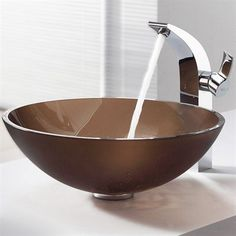 Kraus C GV 103 Exquisite Brown Glass Vessel Sink And Illusio Faucet