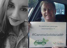 """25/05/2016 - """"Carona Solidária"""", ação implementada pela estagiária Daniela Rocha (foto) e o Secretário Municipal de Meio Ambiente e Urbanismo, Clinger Gagliardi, com o logo que ela criou."""