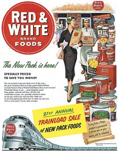 Love her stylish outfit (the green shoes are an especially nice touch). #vintage #grocery #shopping #food #ad #homemaker #1950s