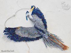 Blue Heron Suncatcher Bead Art Ornament Hanging by AlulaCreations